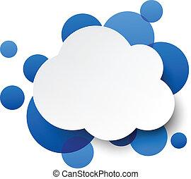 bleu, sur, bubbles., papier, nuage blanc
