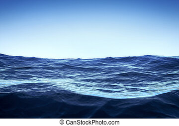 bleu, sur, ciel, océan