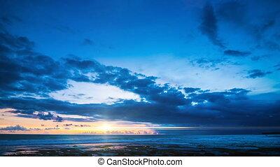 bleu, sur, ciel, océan, coucher soleil, ardent, défaillance temps