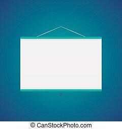 bleu, sur, vecteur, écran, projecteur
