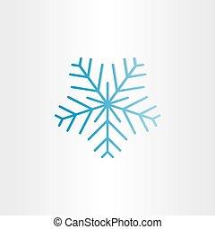 bleu, surgelé, flocon de neige, icône