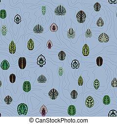 bleu, symétrique, feuilles, résumé, fond