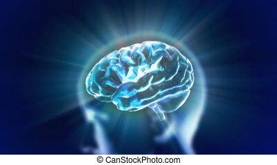 bleu, tête, cerveau, flamme