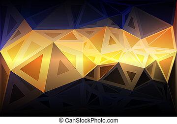 bleu, tailles, aléatoire, poly, noir, fond jaune, orange, bas