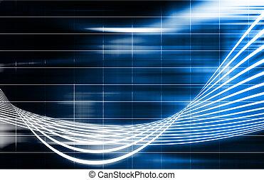 bleu, technologie, futuriste, fond