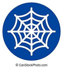 bleu, toile, cercle, araignés, icône