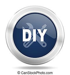 bleu, toile, mobile, app, illustration, métallique, sombre, bricolage, icône internet, bouton, rond