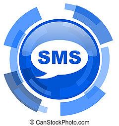 bleu, toile, moderne, sms, lustré, cercle, icône