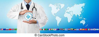 bleu, toile, protéger, bouclier, planisphère, concept, voyage, docteur, fond, croix, isolé, international, monde médical, gabarit, mains, icône, drapeaux, bannière, assurance