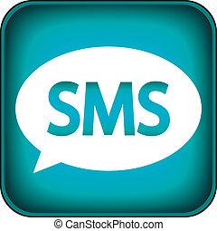 bleu, toile, sms, icône