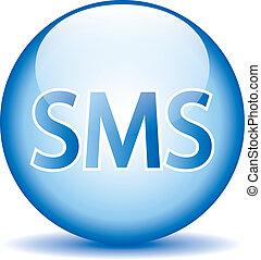 bleu, toile, sms, lustré, icône