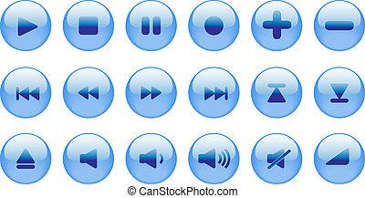 bleu, toile, style, ensemble, icônes, use., eau, 2.0., joueur, média, vecteur, autre, internet, ou