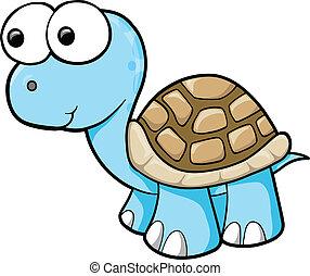 bleu, tortue, vecteur, idiot, animal