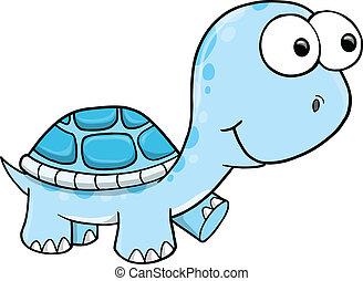 bleu, tortue, vecteur, idiot