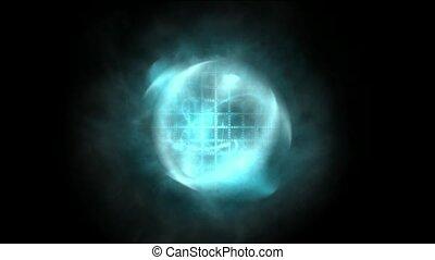 bleu, tourbillon, nébuleuse, laser