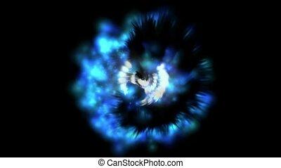bleu, tourbillon, nébuleuse, lumière
