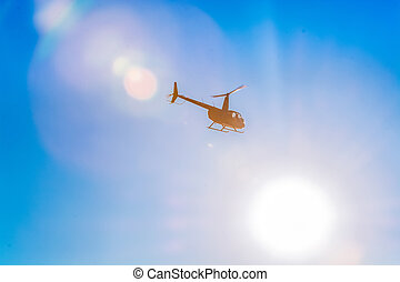 bleu, transport., silhouette, pièces, printemps, clair, moderne, ciel, day., chaud, light., solaire, hélicoptère