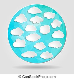bleu, tri, ensemble, nuages, forme abstraite, géométrique, circulaire