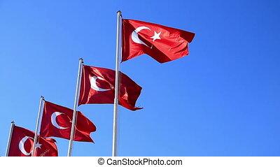 bleu, turc, ciel, onduler, 2, drapeaux