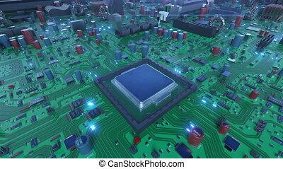 bleu, uhd, carte mère, flares., concept., robotique, lights., installation, processeur, unité centrale traitement, animation, planche, circuit, numérique, 4k, technologie, bras, 3840x2160., 3d