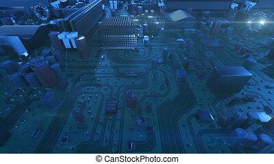bleu, uhd, fait boucle, carte mère, sur, voler, flares., color., animation, planche, circuit, numérique, 3d, technologie, concept., 4k