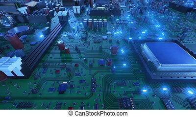 bleu, uhd, fait boucle, processeurs, carte mère, sur, voler, flares., cpus, signals., animation, planche, circuit, numérique, 4k, technologie, concept., 3d