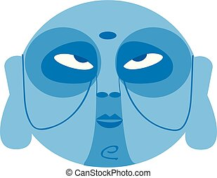 bleu, utilisé, clipart, couleur, tribal, illustration, figure, vecteur, dessin, pratiques, religieux, ou