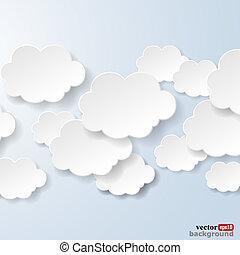bleu, utilisé, nuages, lumière, résumé, illustration, arrière-plan., forme, vecteur, parole, social, eps10, bulles, réseaux