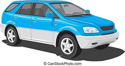 bleu, véhicule utilité sports