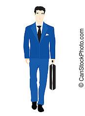 bleu, valise, hommes, illustration, virage, complet