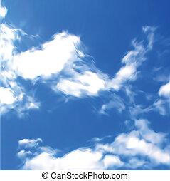 bleu, vecteur, ciel, clouds.