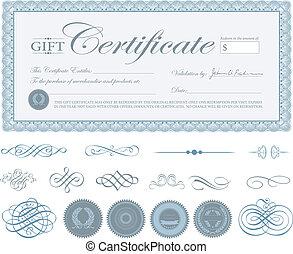 bleu, vecteur, frontière, ornements, certificat