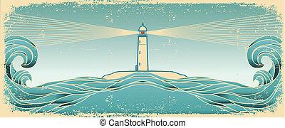 bleu, vecteur, grunge, lighthous, marine, image, texture, papier, horizon., vieux