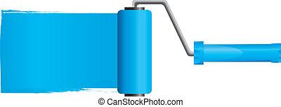 bleu, vecteur, illustration, peinture, partie, brosse, peinture, 2, rouleau