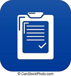 bleu, vecteur, liste, chèque, icône