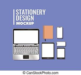 bleu, vecteur, mockup, conception, cahier, tablette, ordinateur portable, fond, smartphone