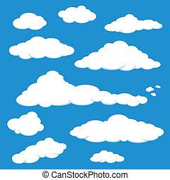 bleu, vecteur, nuage ciel