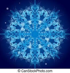 bleu, vecteur, ornement