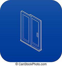 bleu, vecteur, porte, glissement, icône