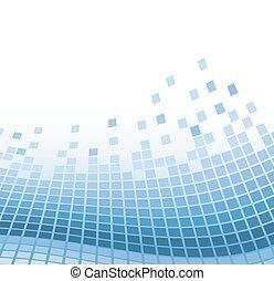 bleu, vecteur, résumé, illustration, particles., ondulé, fond, mosaïque