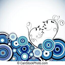bleu, vecteur, romantique, arrière-plan., rings., floral