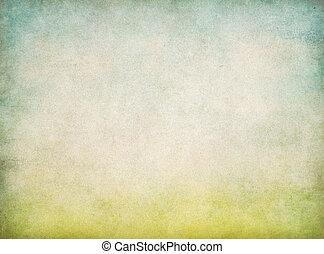 bleu, vendange, résumé, ciel, papier, arrière-plan vert, herbe