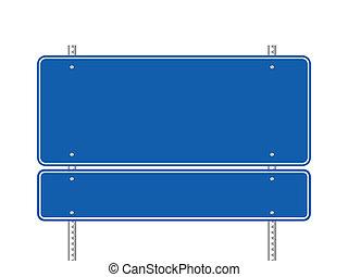 bleu, vide, panneaux signalisations
