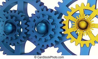 bleu, vieux, jaune, tourner, couleurs, engrenages