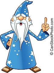bleu, vieux, magicien, -, idée, avoir