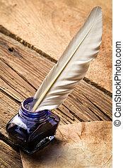 bleu, vieux, vendange, lettre, encre, plume