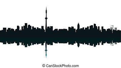 bleu, ville, b, contour, grand