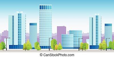 bleu, ville, horizons, bâtiment, illustration, architecture, cityscape