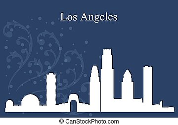 bleu, ville, silhouette, angeles, los, horizon, fond