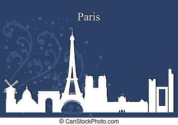 bleu, ville, silhouette, paris, horizon, fond